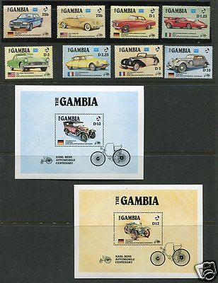 Gambia Classic Cars set with Souvenir sheets   Never Hinged   Scott #620-629
