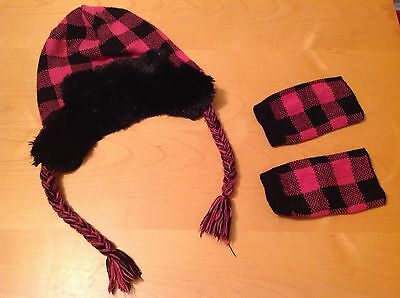 Girls Hat And Mittens Set - Pink And Black - Age 4-8 Years - Fur - Warm