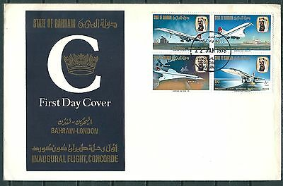 Bahrain 1976 Fdc Inaugural Flight Concorde, Set Of Stamps, Aviation -Cag 140617