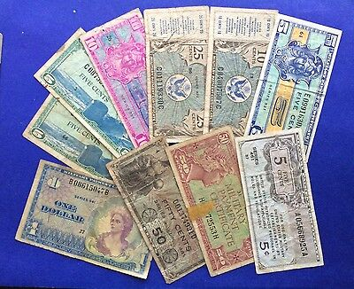 """**LOT of 10** """"Various Denominations & Series"""" Military Payment Certificates"""