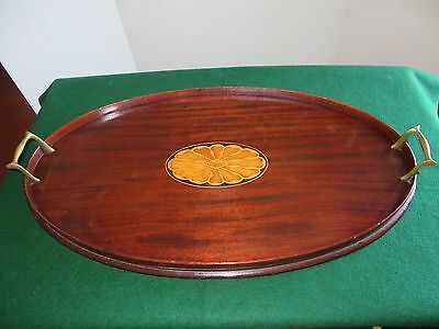 Antique Oval English Butler's Tray Mahogany w/ Satinwood Inlay & Brass Handles