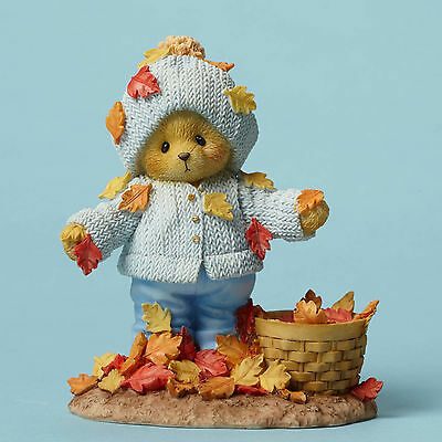 Cherished Teddies*BEAR PLAYING WITH LEAVES*New*Falling Into Autumn*ABNER*4049730
