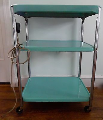 Vintage Aqua Cosco Rolling 3 tier Cart Kitchen Utility W/Electric Outlet Originl