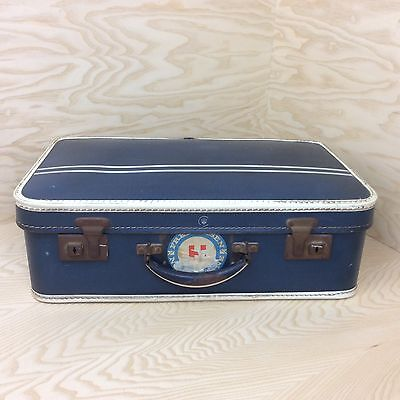 Vintage 1950's Pressed Hard Suitcase Blue With White Edging Travel Luggage Prop
