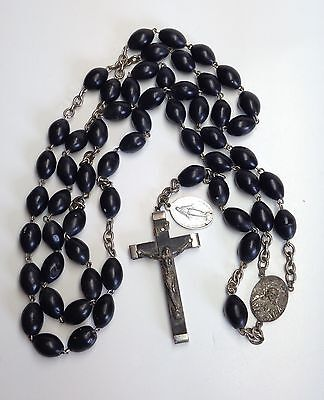 "Vintage Large Nun's Rosary Italy Black Wood Beads 30"" Long Sillver Crucifix"