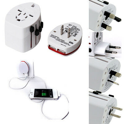 Universal AU/UK/US/EU Plug Adapter Converter Dual USB Phone Charger Port Travel