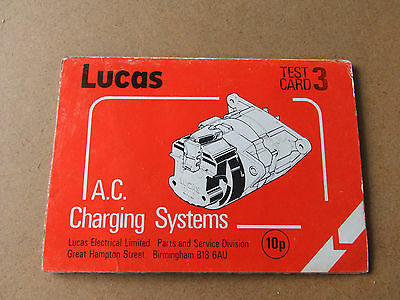 Lucas test card forA/c & A/C/R systems dated 1982