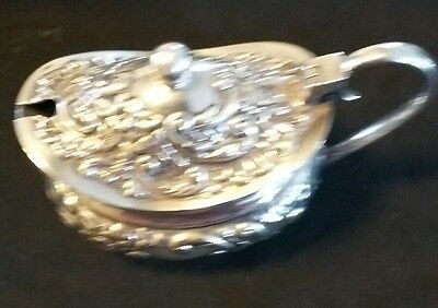 Antique Silver coloured  Mustard Pot Beautiful  decorated