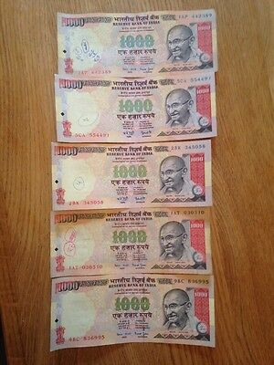 5000 Indian Rupees in discontinued notes (worth £60) India Rupee