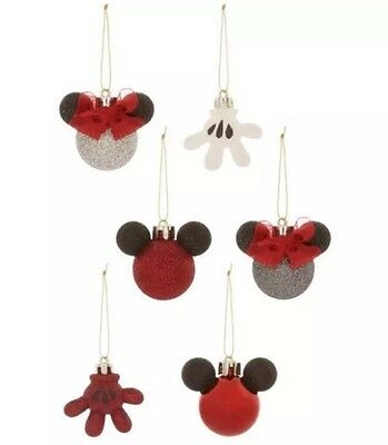 Disney Official Mickey Minnie Mouse Xmas Ornament Decoration Bauble Set Icon