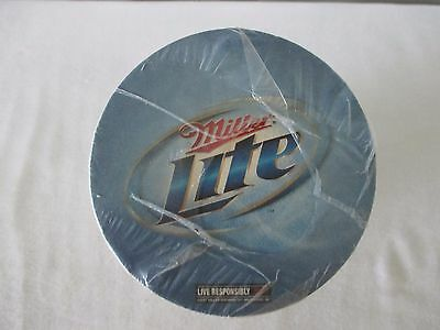 Miller Lite Sealed Pack Of100 Round Beer Coasters Two Sided Man Cave Bar Party