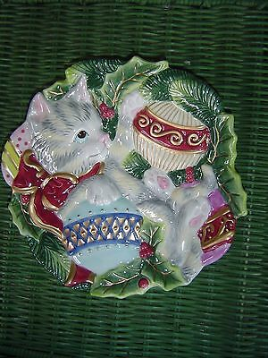 Fitz & Floyd Kristmas Kitty Canape Plate New In Box