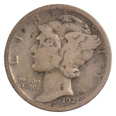 1921 Mercury/Winged Liberty Head Silver Dime *J31