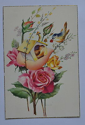 Spain Vintage Greeting Card Flowers. Birds. Roses. Lilies of the valley.  1961