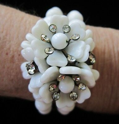 Germany Bracelet White Milk Glass Beads Rhinestone Adorned Flowers 1950 Vintage