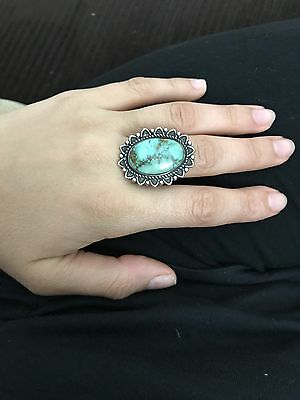 Oval Navajo Indian Royston Spider  Blue Green Turquoise Sterling Silver Ring 7.5