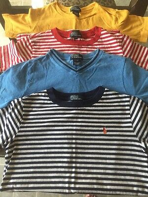 *Lot Of 4 Polo Ralph Lauren Boys Youth T-Shirt, Sz 7, Yellow, Red, Blue*