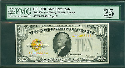 Fr#2400* 1928 $10 Gold Certificate Star Note Pmg Vf 25 Awesome Note!!!
