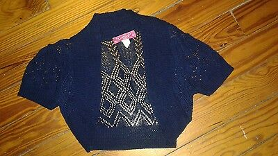 EUC Say What? Girls Bolero Sweater Size Large Navy