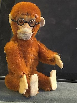 "5"" Schuco Antique Yes/no Monkey With Metal Glasses Working Vibrant Mohair"