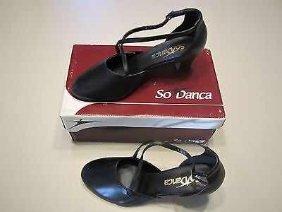 SO DANCA CH69 Character or Ballroom Dance Shoes with Crossed Straps Size 7 Black
