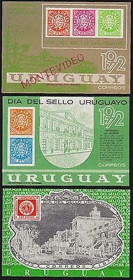 URUGUAY Scott 834-835, 863 MNH - 1972 & 1973 Stamp Day Souvenir Sheets