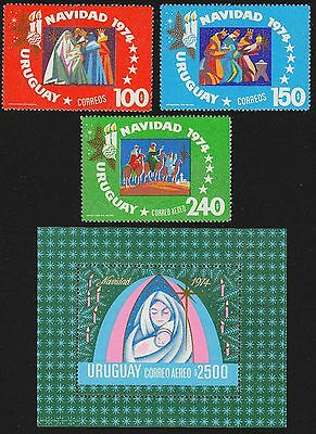URUGUAY Scott 906-907, C400-C401 MNH - 1974 Christmas Issue inc Souvenir Sheet