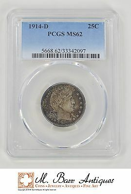 MS62 1914-D Barber Silver Quarter - Graded PCGS *XC72