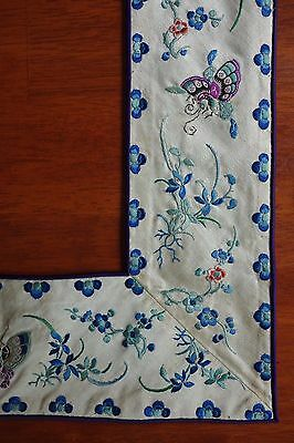 Antique Chinese Qing Dynasty Embroidered Silk Skirt Panels Borders - Butterflies