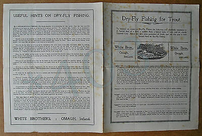 WHITE Bros OMAGH IRELAND DRY-FLY FISHING for TROUT c1920-37 Leaflet Advertising