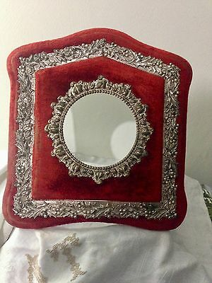 American Victorian Red Velvet Picture Frame w Embossed Holly Design Belle Epoque