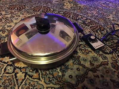 Vintage Saladmaster Oil Core Electric Skillet 7815E w/ Vapo Lid Stainless Steel