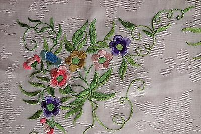 """Antique Chinese  Hand Embroidered Silk Panel - Butterflies Flowers - 20"""" Square"""