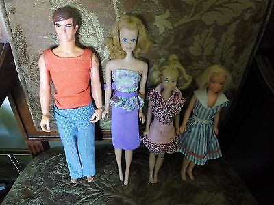 Vintage Barbie Doll lot of 4 dolls Midge Ken and 2 Skipper dolls