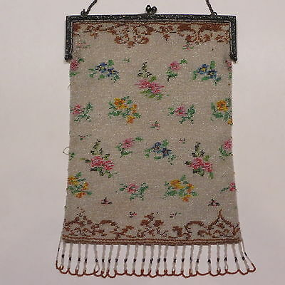 Antique Vtg Micro Beaded Floral Purse Alpacca Silver Frame GSJ Germany