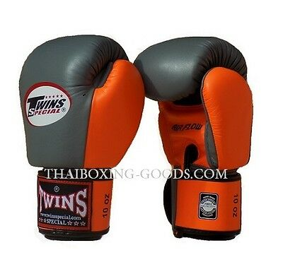 Twins Special Muay Thai Boxing Gloves Grey Orange Airflow 10  Oz