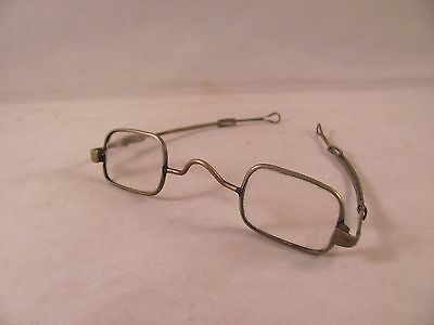Antique Early 19th Slide Arm Eyeglasses Spectacles Square Lens American 4 in