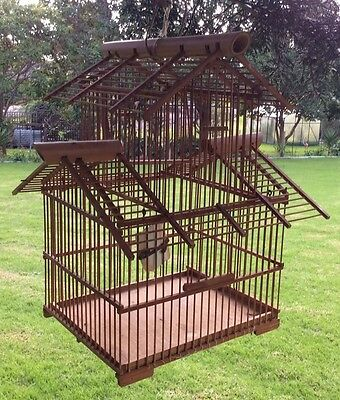 Old Vintage Pagoda Style Birdcage Bamboo Matchstick Canary Cage Garden Or Home