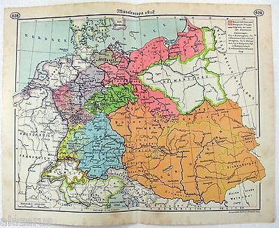 Original 1937 German Map of Middle Europe in 1812 by F. A. Brockhaus