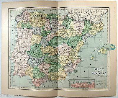 Original Antique 1883 Map of Spain & Portugal by Phillips & Hunt