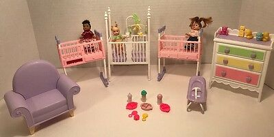 Barbie Happy Family Toddler Nikki Dolls Lot of 3 With Furniture Accessories