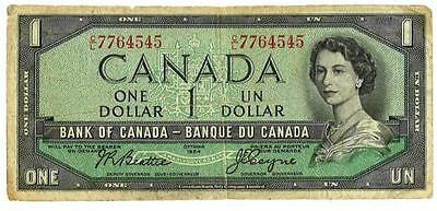 1954 $1 Canada note - Canadian UN dollar bill - Ottawa 1954 - CL7764545
