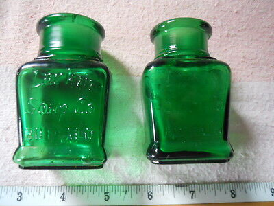 Beautiful Pair of Emerald Green Larkin Soap Co. Buffalo Missing Glass Stoppers