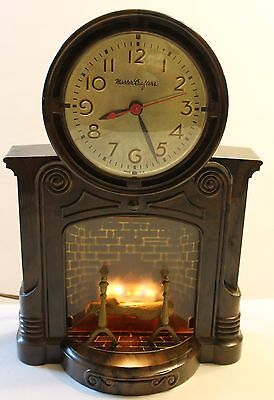 Rare Vintage Master Crafters mantel Clock lighted fireplace movement