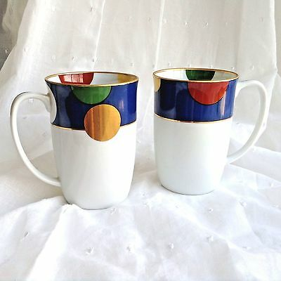 Taitu China Coffee Mugs Sunfield Pattern Circles Porcelain Cups Japan Set of 2