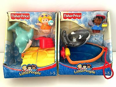 BNIB 2006 Fisher Price Little People WHALE WATCHING + DOLPHIN SHOW (Set of 2)