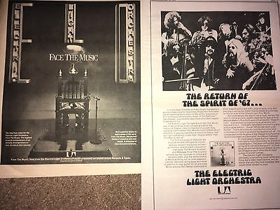 Vintage 2 Lot Electric Light Orchestra United Artists Records Lp Ad Pinup Poster