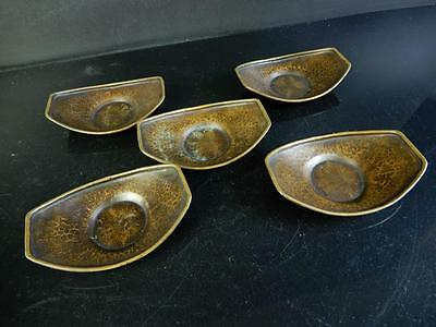 H1770: Japanese Old Copper Boat-shaped TEA CUP TRAY Saucer Chataku 5pcs