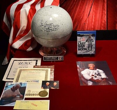 EUGENE CERNAN Signed MOON GLOBE Autograph, Frame, DVD, COA, NASA Apollo Patch