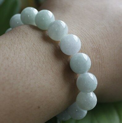 Certified Natural (A) Untreated Light Green Chinese Jadeite JADE Bracelet #Br448